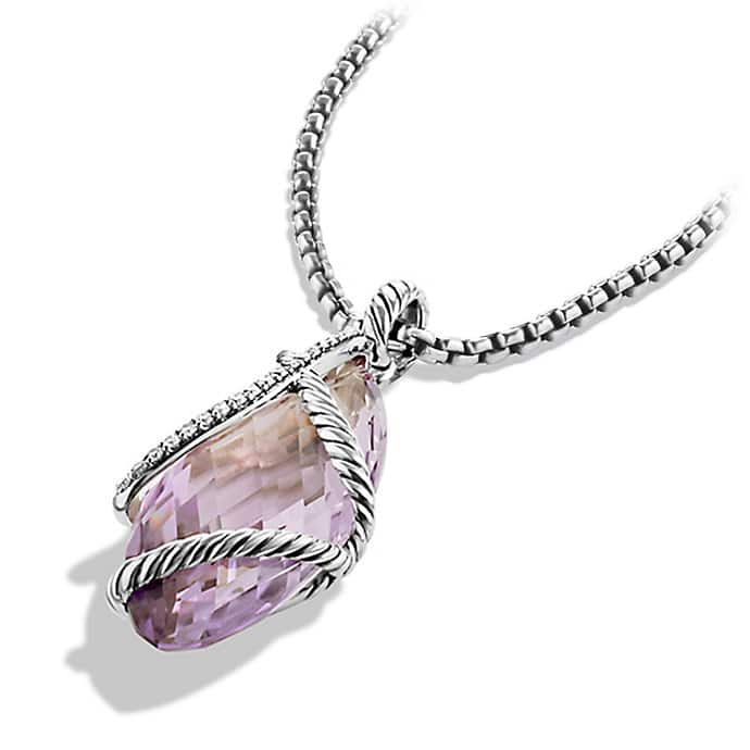 Cable Wrap Pendant with Amethyst and Diamonds
