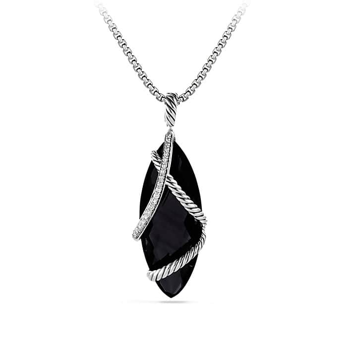 Cable Wrap Pendant with Black Onyx and Diamonds