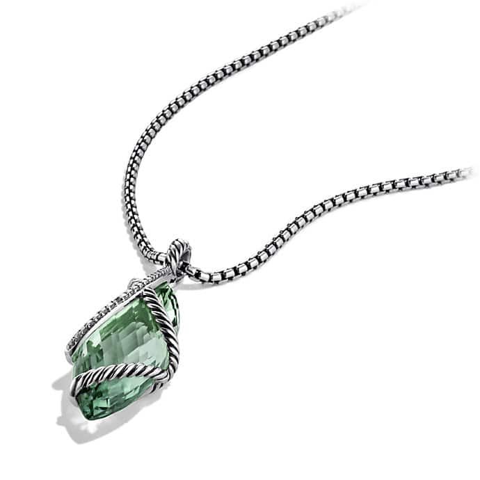Cable Wrap Pendant with Prasiolite and Diamonds