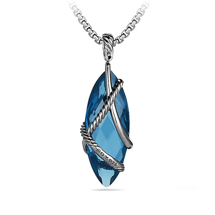 Cable Wrap Pendant with Hampton Blue Topaz and Diamonds