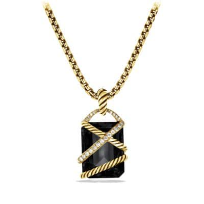 Cable Wrap Pendant with Black Onyx and Diamonds in 18K Gold