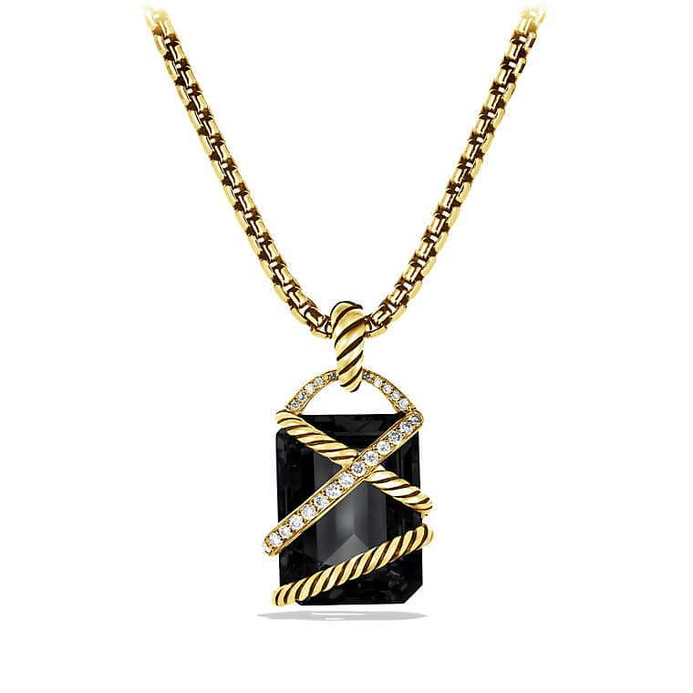 Cable Wrap Pendant with Black Onyx, Diamonds, and Gold