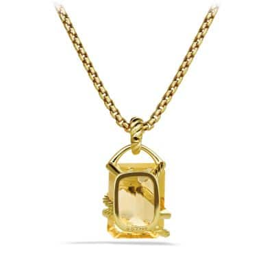 Cable Wrap Pendant with Champagne Citrine and Diamonds in 18K Gold