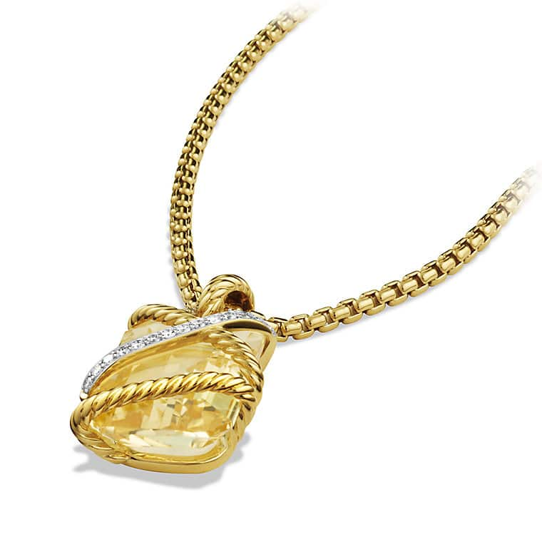 Cable Wrap Pendant with Champagne Citrine, Diamonds, and Gold