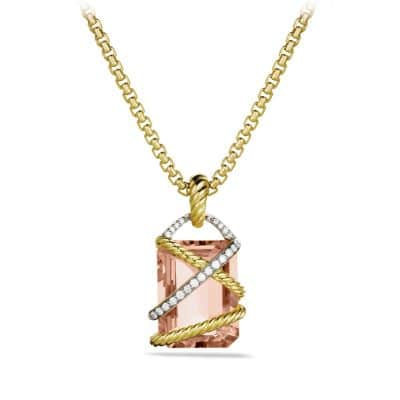 Cable Wrap Pendant with Morganite, Diamonds, and Gold