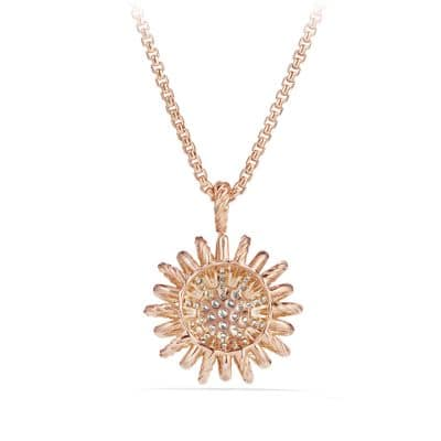 Starburst Pendant with Diamonds in 18K Rose Gold, 22mm