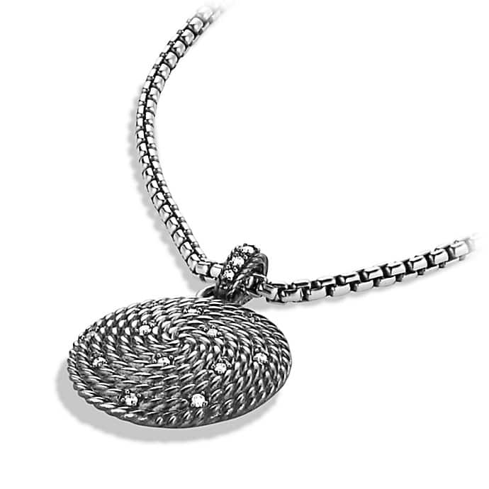 Cable Coil Small Pendant with Diamonds