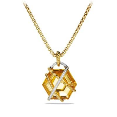 Cable Wrap Pendant with Champagne Citrine and Diamonds in 18K Gold, 20mm