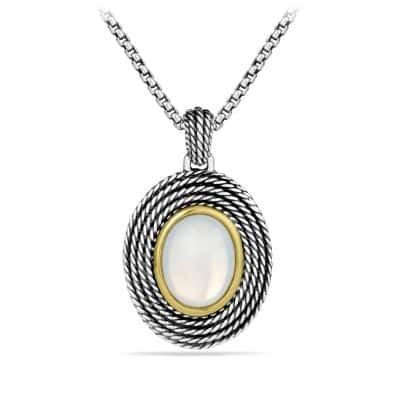 Cable Coil Pendant with Moon Quartz and Gold