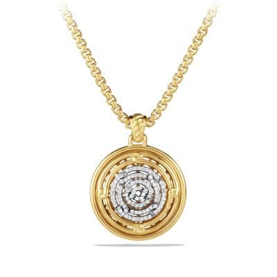 Labyrinth Disc Pendant with Diamonds in Gold