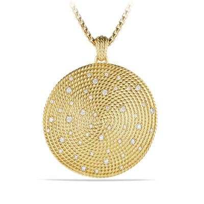 Cable Coil Pendant with Diamonds in 18 K Gold