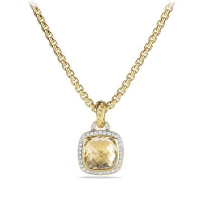 Albion® Pendant with Champagne Citrine and Diamonds with 18K Gold, 11mm