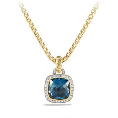 Albion Pendant with Hampton Blue Topaz and Diamonds in 18K Gold, 11mm