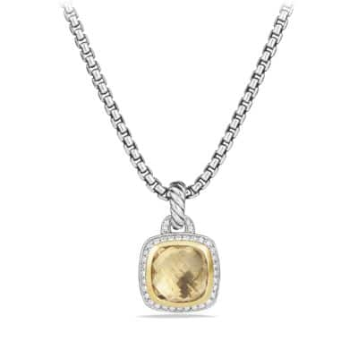 Pendant with Champagne Citrine and Diamonds with 18K Gold
