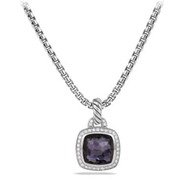 Albion® Pendant with Black Orchid and Diamonds, 11mm