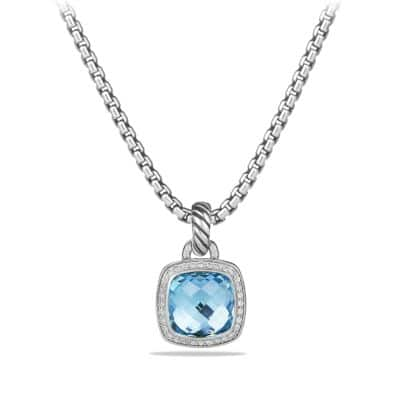 Albion® Pendant with Blue Topaz and Diamonds, 11mm