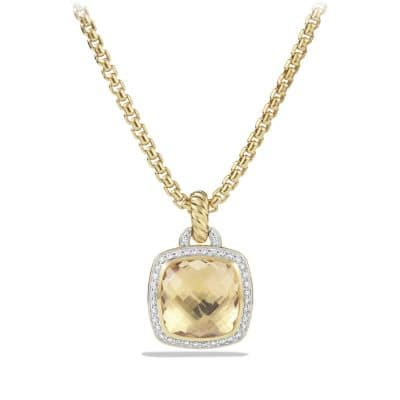 Pendant with Champagne Citrine and Diamonds in 18K Gold