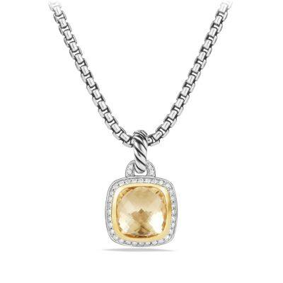 Albion Pendant with Champagne Citrine, Diamonds and 18K Gold, 14mm
