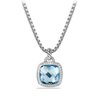Albion Pendant with Blue Topaz and Diamonds, 14mm
