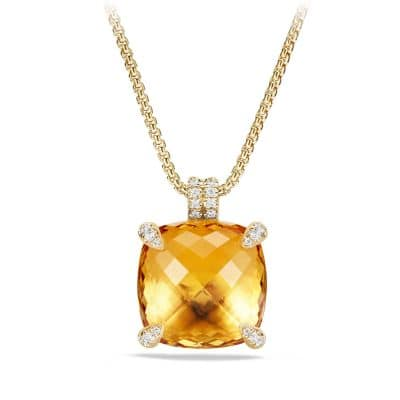Chatelaine Pendant with Citrine and Diamonds in 18K Gold, 20mm