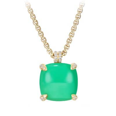 Châtelaine Pendant with Chrysoprase and Diamonds in 18K Gold, 20mm