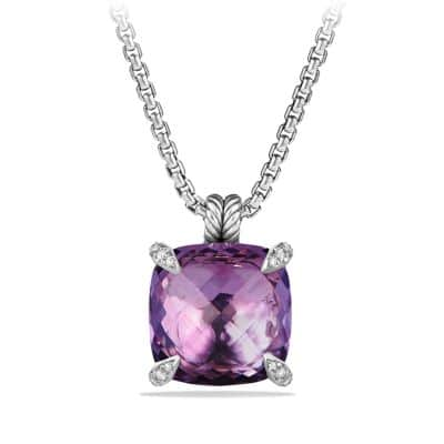 Chatelaine Pendant with Amethyst and Diamonds, 20mm