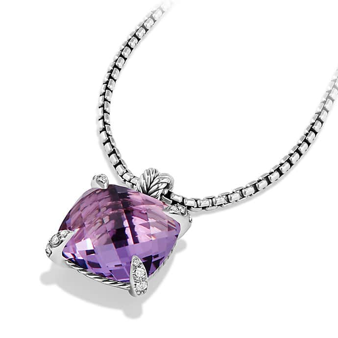 Châtelaine Pendant with Amethyst and Diamonds, 20mm