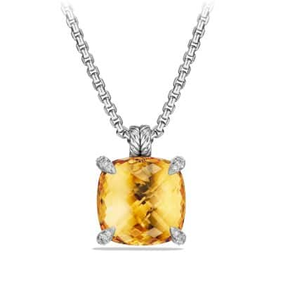 Chatelaine Pendant with Citrine and Diamonds, 20mm