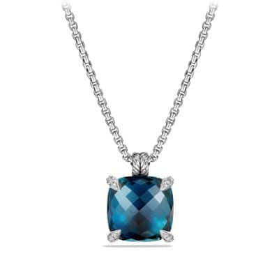 Chatelaine Pendant with Hampton Blue Topaz and Diamonds, 20mm