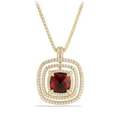 Châtelaine Pave Bezel Enhancer with Garnet and Diamonds in 18K Gold, 26mm