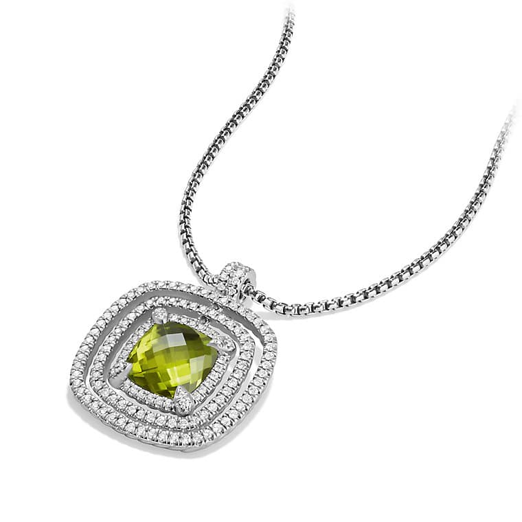 Chatelaine Pave Bezel Enhancer with Peridot and Diamonds in 18K White Gold, 26mm