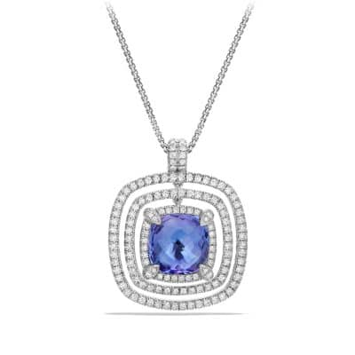 Chatelaine Pave Bezel Enhancer with Tanzanite and Diamonds in 18K White Gold, 26mm