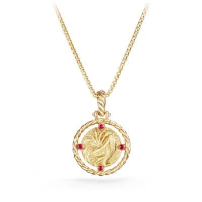 Guilin Rooster Charm with Ruby in 18K Gold