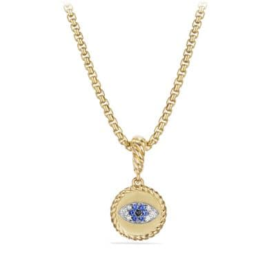Cable Collectibles Evil Eye Amulet with Diamonds and Blue Sapphires in 18k Gold
