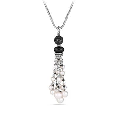 Oceanica Tassel Pendant with Black Onyx and Pearls