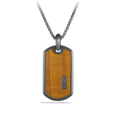 Exotic Stone Tag with Tiger's Eye in Silver, 35mm