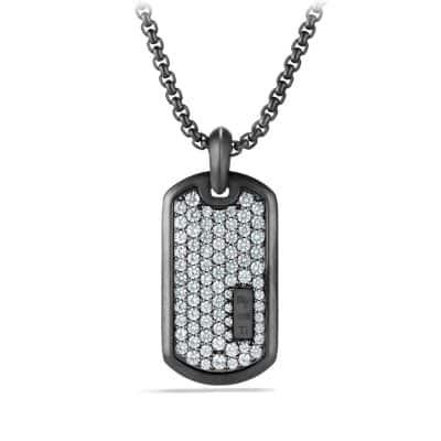 Pave Tag with Gray Sapphire in Black Titanium