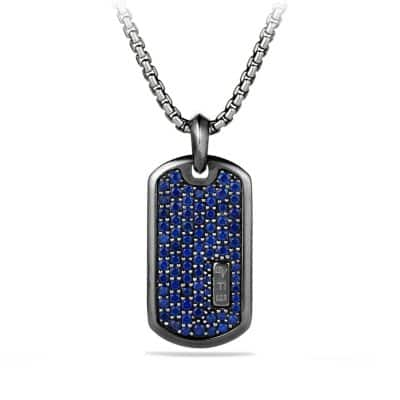 Pavé Tag with Blue Sapphire and Black Titanium