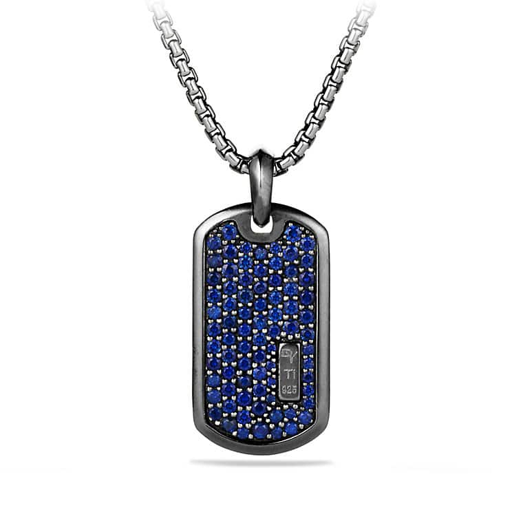 Pavé Tag with Sapphires