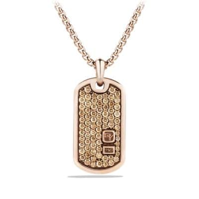 Pave Tag with Diamonds in 18K Rose Gold