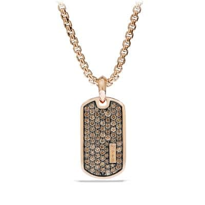Pavé Tag with Cognac Diamonds in 18K Rose Gold