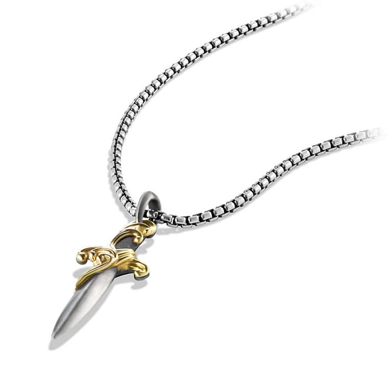 Waves Dagger Amulet with Gold