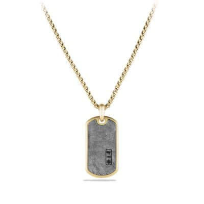Meteorite Tag in 18K Gold