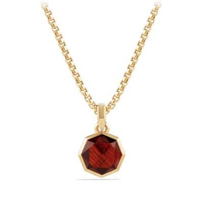 DY Fortune Faceted Amulet with Garnet in 18K Gold