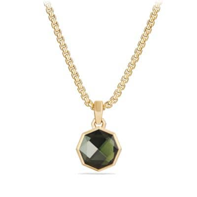 DY Fortune Faceted Amulet with Moldavite in 18K Gold