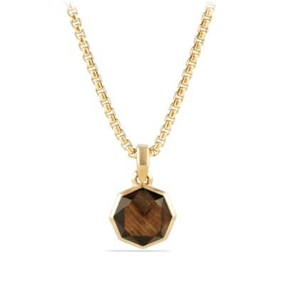 DY Fortune Faceted Amulet with Golden Sheen Sapphire in 18K Gold