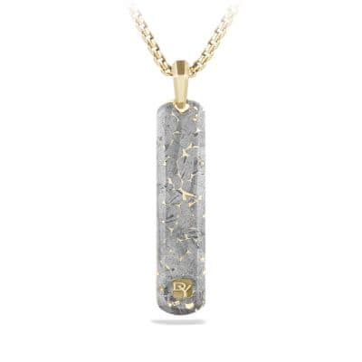 Fused Meteorite Tag in 18K Gold