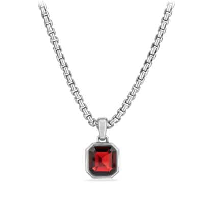Emerald Cut Amulet with Garnet