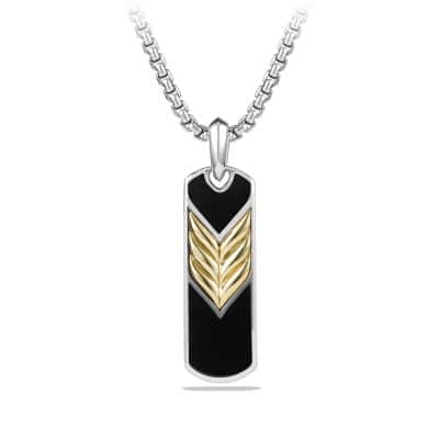 Chevron Tag with Black Onyx and 18K Gold