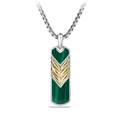 Chevron Tag with Malachite and 18K Gold